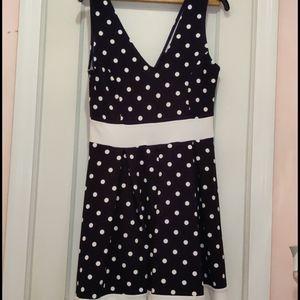 Juniors navy blue white polka dot dress